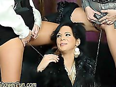 Fetish lesbians finger and piss