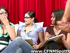 Cute amateur CFNM babes watch CFNM guy jerk off