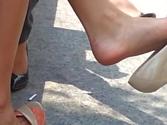 Candid Dangling Shoeplay Feet in Heels