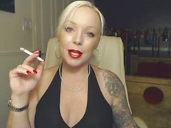 Dominant Blonde Jerk Off Countdown while smoking