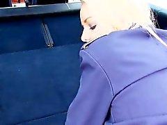 Blonde flight stewardess fucked in a car