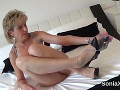 Unfaithful english mature lady sonia showcases her monster n