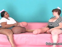 Horny girls nail the biggest strapons and spray love juice e