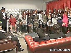 Hot ass japanese teen gets cunt toyed at weird sex show