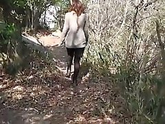 Panties to the side outdoor brunette fuck