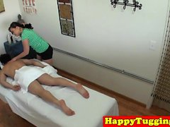 Curvy japanese masseuse banged by her client