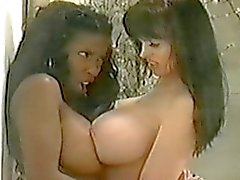 Huge Boob Interracial Lesbian Cat Fight!