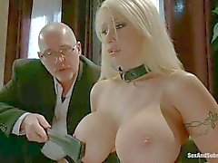 Huge boobed blonde Candy Manson gets trained
