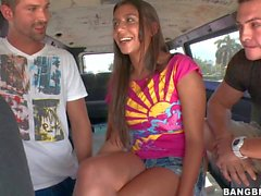 Young chick Jade Riley gets double fucked in the bus