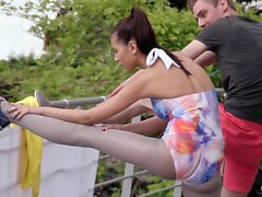 Relaxxxed - Fitness instructor blows outdoor