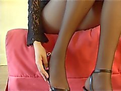 blonde in sheer black pantyhose