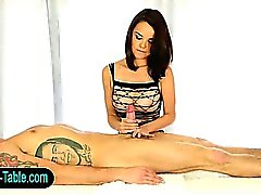 Sex therapist babe tugging cock