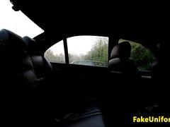 British euro doggystyled in uniformed cop car