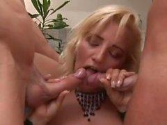 Blonde Stepmom Slut Getting Double Teamed