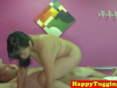 Chubby oriental masseuse blows cock till cum