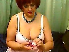 Fat Russian Redhead Masturbates