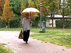 Grandmother has a lot of fun with young man