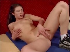 Lovely girl in acrobatic anal action