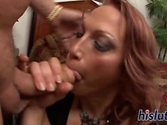 Redhead MILF has her tight pussy drilled