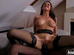 Martina Gold in stockings gets a BBC