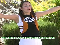 Michelle gorgeous brunette cheerleader woman flashing tits and ass and pussy