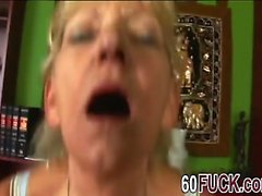 Wild blonde granny gets pussy hammered