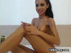 Latin Beauty Getting Oiled Up