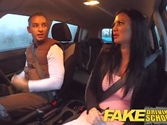 Fake Driving School exam failure ends in threesome creampies