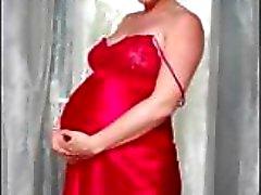 Pregnant blonde Veronica is doing a slow striptease showing bumps
