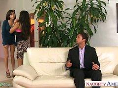 Hotties April O Neil and Yurizan Beltran sharing a big dick