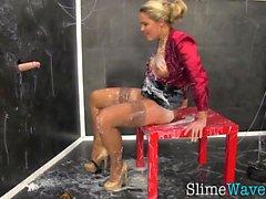 Fetish whore gets slimed