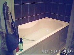 sarad relaxing in bathtub