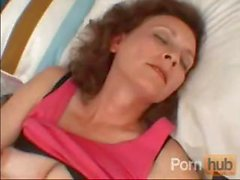 Mature brunette mom got horny in the afternoon and takes care of herself