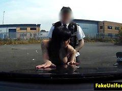 Bigtitted uk amateur fucked on cop car bonnet