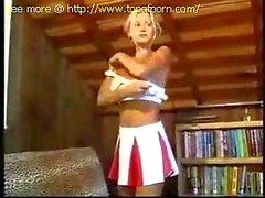 Hot cheerleader girlfriend stripping