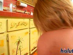Gorgeous blonde has her big ass cummed on