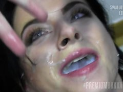 PremiumBukkake - Elya #2 swallowing 60 big loads