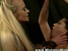 Lezdom whipps and dildo fucks subject while shes bound