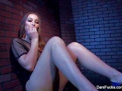 Petite cutie Dani Daniels fingers her tight pussy