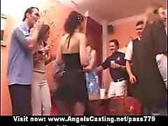 Amateur adorable sexy girls having an orgy at a party