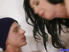 Stockinged british milf doggystyled by guy
