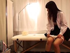 Japanese teen in schoolgirl uniform stripped