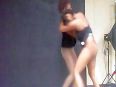 Two busty ebony gals are brawling and fighting each other