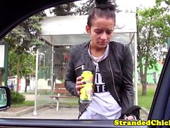 Hitchhiking eurobabe screwed on car backseat