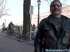 Real dutch hooker sucks and tugs