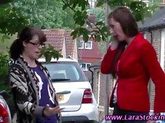 Stockinged MILF amateur spanks lesbo babe