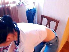 Cute brunette amateur teen masturbates on webcam
