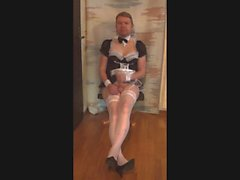 Sissymaid in lingerie blackmailed jerking sissycock