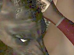 3D di Brunette leccata e scopata da un lupo mannaro
