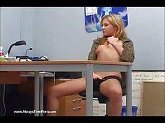 Horny secretary jilling off